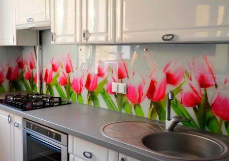 стеклянные панели с рисунком для кухни