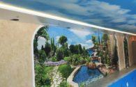 Установка натяжного потолка в бассейн 100 м²