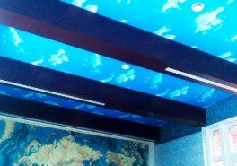 Установка потолков для бассейна в коттедже 50 м²