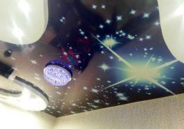 Натяжной 3д потолок звёздное небо на Металлургов
